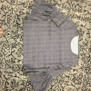 Tops - Plaid bell sleeve top